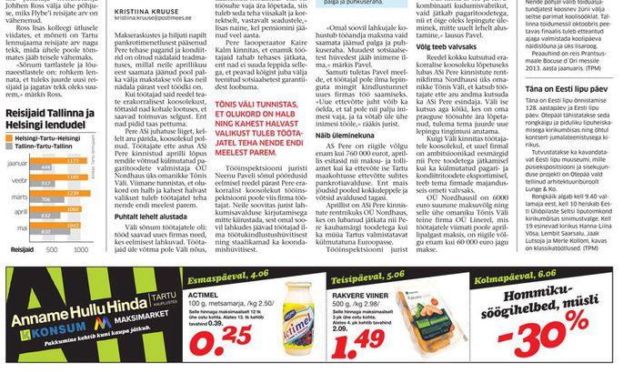 3b52f697467 Tartu Postimees kirjutas AS Pere probleemidest 4. juunil.