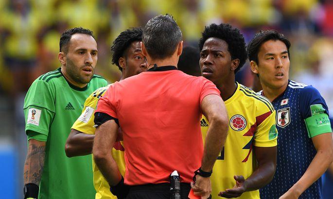 2747534dd20 Kolumbia ja Jaapani H-alagrupi lahingu peakohtunik Damir Skomina näitas  juba kolmandal minutil Kolumbia poolkaitsjale Carlos Sanchezile punast  kaarti.